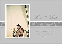 Romantic Gray Save the Date Cards - Front