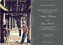 Side Detail Gray Wedding Invites Cards - Front