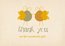 Lovebirds Thanks Thank You Flat Cards - Front