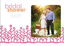 Flower Garden Shower Coral Pink Shower Invites Flat Cards - Front