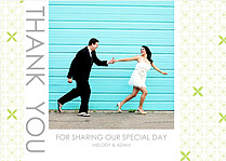 Criss Cross Thanks Lime Thank You Flat Cards - Front