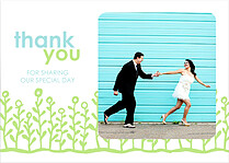 Flower Garden Thanks Blue Green Thank You Flat Cards - Front