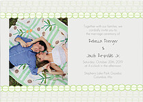 Bubbles Invitation Green Wedding Invites Flat Cards - Front