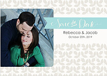 Floral Date Aqua Save the Date Flat Cards - Front