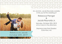 Floral Invitation Aqua Wedding Invites Flat Cards - Front
