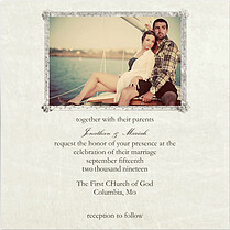 Gray Frame Invite Square Wedding Invites Flat Cards - Front
