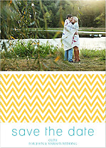 Yellow Blue Zigzag Save the Date Cards - Front