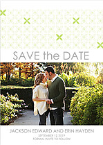 Criss Cross Date Lime Save the Date Flat Cards - Front