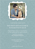 Blue Ornate Frame Wedding Invites Cards - Front