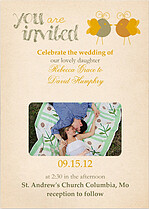 Lovebirds Invitation  Wedding Invites Flat Cards - Front