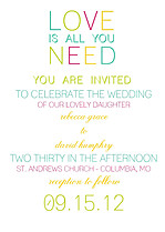 Color Pop Invitation  Wedding Invites Flat Cards - Front
