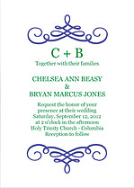 Violet Flourish Invitation Wedding Invites Flat Cards - Front