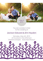 Flower Garden Invitation Gray Purple Wedding Invites Flat Cards - Front