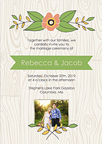 Woodgrain Invitation Green Wedding Invites Flat Cards - Front
