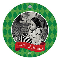 Argyle Circle Christmas Holiday Ornaments - Front