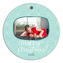 Delightful Orbs Aqua Christmas Holiday Ornaments - Front