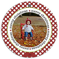 Dot Circles Christmas Holiday Ornaments - Front