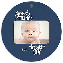 Good Tidings Blue Christmas Holiday Ornaments - Front