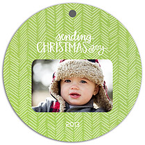 Herringbone Lime Christmas Holiday Ornaments - Front