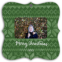 Holiday Sweater Green Square Ornate Christmas Holiday Ornaments - Front