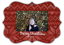 Holiday Sweater Red Ornate Christmas Holiday Ornaments - Front