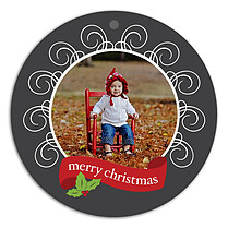 Christmas Gray Christmas Holiday Ornaments - Front