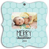 Pattern Aqua Square Ornate Christmas Holiday Ornaments - Front