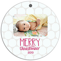 Pattern Tan White Christmas Holiday Ornaments - Front