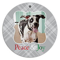 Peace Plaid Joy Holiday Holiday Ornaments - Front
