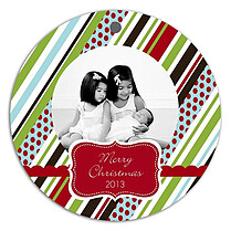 Stripes Polka Christmas Holiday Ornaments - Front