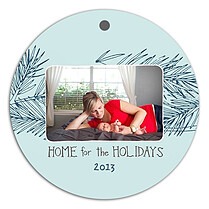 Winter Pine Blue Christmas Holiday Ornaments - Front