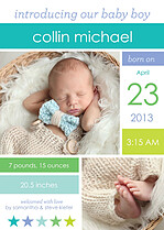 Colorblock Boy Birth Announcements Magnets - Front