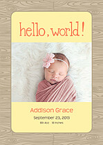 Natural Welcome Orange Birth Announcements Magnets - Front