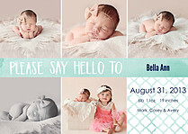 Say Hello Teal Birth Announcements Magnets - Front