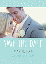 Swiss Dot Date Aqua Wedding Magnets - Front