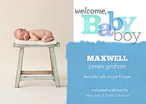 Welcome Baby Boy Birth Announcements Magnets - Front
