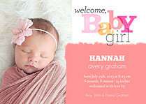 Welcome Baby Girl Birth Announcements Magnets - Front