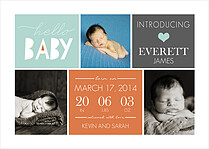 Adorable Arrival Blue Birth Announcements Magnets - Front