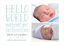 Nice To Meet You Blue Birth Announcements Magnets - Front