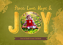 Hope And Joy Green Holiday Magnets - Front
