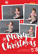 Flurry Burst Red Christmas Magnets - Front