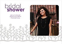 Flower Garden Shower Gray Purple Wedding Magnets - Front