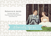 Floral Thank You Aqua Wedding Magnets - Front