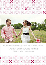 Criss Cross Invitation Pink Wedding Magnets - Front