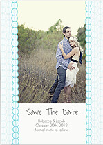 Bubbles Date Aqua Wedding Magnets - Front