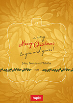 Goldenrod Christmas Pop Ornate Christmas Modern Pop Cards - Front