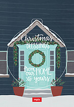 Home for Christmas Pop Circle Christmas Modern Pop Cards - Front