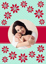 Poinsettia Polka Pop Circle Christmas Modern Pop Cards - Back