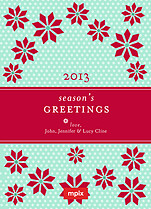 Poinsettia Polka Pop Circle Christmas Modern Pop Cards - Front