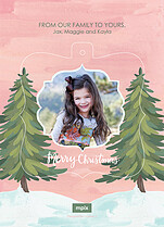 Sunset Pine Pop Ornate Christmas Modern Pop Cards - Back